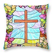 Butterflies And Cross Throw Pillow