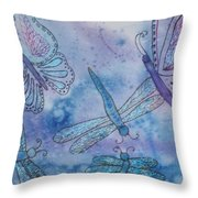 Butterflies And Dragonflies Throw Pillow