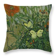 Butterflies And Poppies, 1890.  Throw Pillow