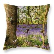 Butterflies In A Bluebell Woodland Throw Pillow