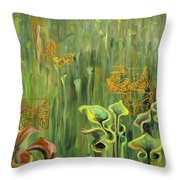 Butterflies In The Bog Throw Pillow