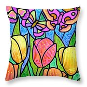 Butterflies In The Tulip Garden Throw Pillow