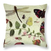 Butterflies, Insects And Flowers Throw Pillow