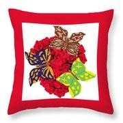 Butterflies On Roses Throw Pillow