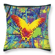 Butterfly All Aglow Throw Pillow