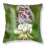 Butterfly And Bugs On Clover Throw Pillow