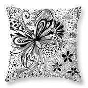Butterfly And Flowers, Doodles Throw Pillow