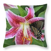 Butterfly And Lilly Throw Pillow