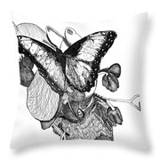 Butterfly And Orchids Throw Pillow