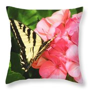 Butterfly And The Geranium Throw Pillow