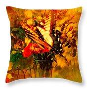 Butterfly Atop Flower Arrangement Throw Pillow