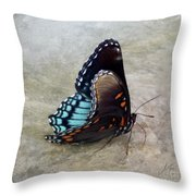 Butterfly Blue On Groovy 2 Throw Pillow