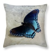 Butterfly Blue On Groovy Throw Pillow