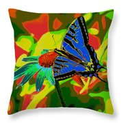 Butterfly Blues Throw Pillow