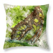 Butterfly Close Up Digital Watercolor On Photograph Throw Pillow