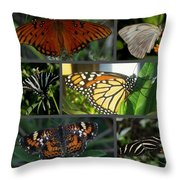 Butterfly Collage 2  Throw Pillow by April Wietrecki Green