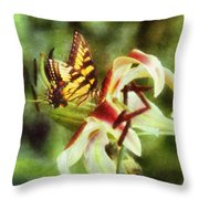 Butterfly Daylily Throw Pillow