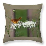 Butterfly Feeding Throw Pillow