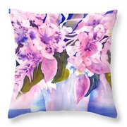 Pink Butterfly Flowers Throw Pillow