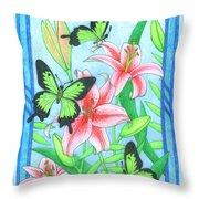 Butterfly Idyll- Lilies Throw Pillow
