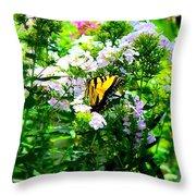 Butterfly In A Garden Throw Pillow