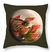 Butterfly In A Globe Throw Pillow