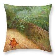 Butterfly In A Small Zen Sand Garden Throw Pillow