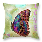 Butterfly In Beige And Teal Throw Pillow