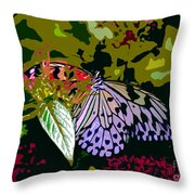 Butterfly In Garden Throw Pillow