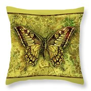 Butterfly In Golds-amber Collection Throw Pillow