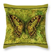 Butterfly In Greens-amber Collection  Throw Pillow