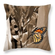 Butterfly In Sepia Throw Pillow