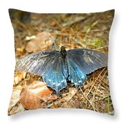 Butterfly In The Forest Throw Pillow