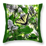Butterfly In The Lilac No. 1 Throw Pillow