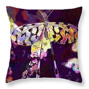 Butterfly Insect Black White  Throw Pillow