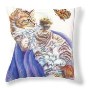 Butterfly Kitten Throw Pillow