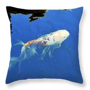 Butterfly Koi In Blue Sky Reflection Throw Pillow