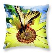 Butterfly Meets Sunflower Throw Pillow