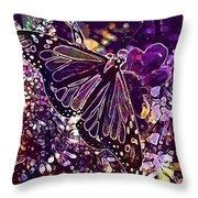 Butterfly Monarch Flower  Throw Pillow