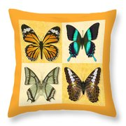 Four Butterfly Montage Throw Pillow