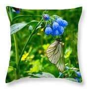 Butterfly On A Flower Throw Pillow