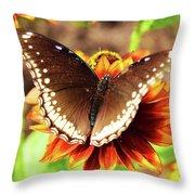 Butterfly On A Sunset Throw Pillow