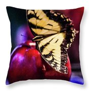 Butterfly On Apple Throw Pillow