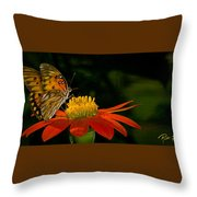 Butterfly On Blossom Throw Pillow