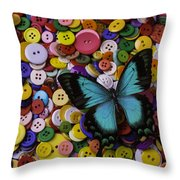 Butterfly On Buttons Throw Pillow