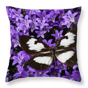 Butterfly On Campanula Get Mee Throw Pillow
