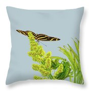 Butterfly On Flower Cluster Throw Pillow