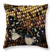 Butterfly On Indian Corn Throw Pillow