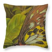 Butterfly On Leaves Throw Pillow