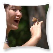 Butterfly On My Hand 2 Throw Pillow